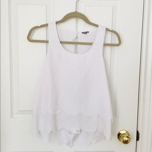 Charlotte Russe White Scalloped Open Back Tank Top